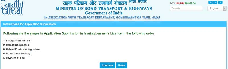 How to Apply for New Learner's Licence Step 4