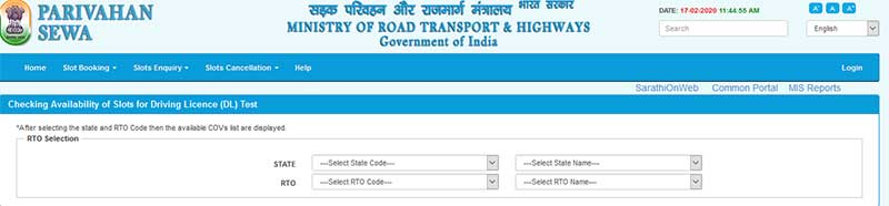 How to make LL DL Slots Enquiry in Online Step 4 select RTO name