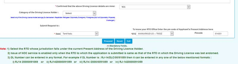 How to renew expired Driving Licence in Online Step 6