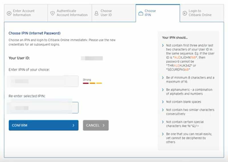 How to Activate Citibanks Net Banking Account Step 6