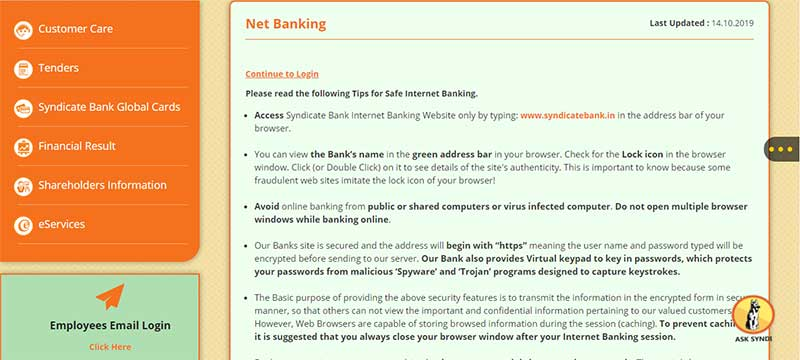How to Activate Net Banking Account in Syndicate Bank Step 3