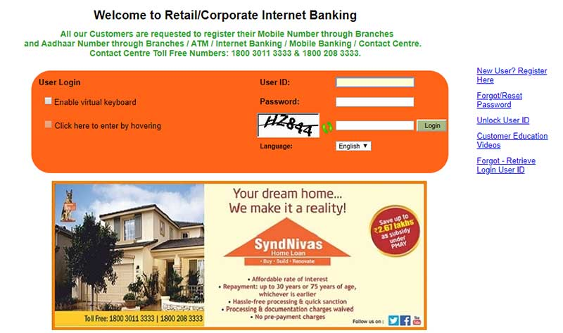 How to Activate Net Banking Account in Syndicate Bank Step 4