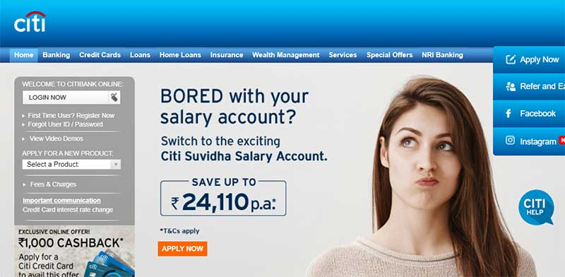How to Login to Citibanks Net Banking Account Step 2