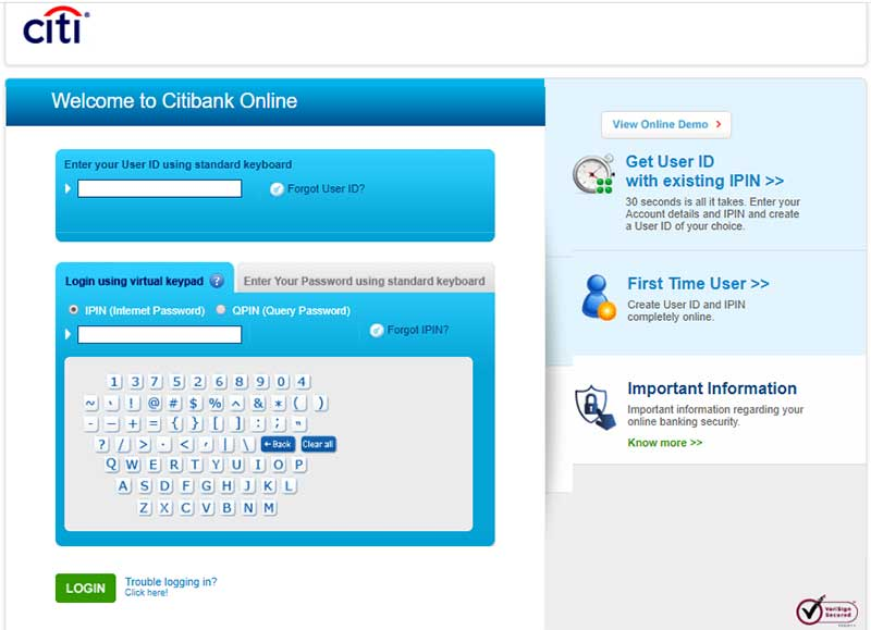 How to Login to Citibanks Net Banking Account Step 3