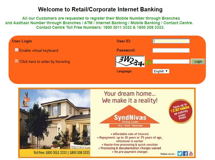 How to Login to Net banking Account in Syndicate Bank Step 4