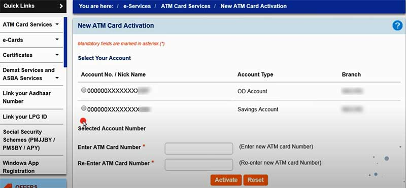 How to activate new SBI debit card in Online Step 4