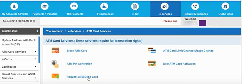How to apply for a new SBI Debit Card Step 4