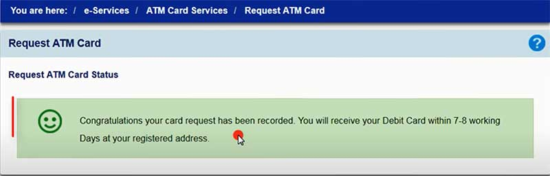 How to apply for a new SBI Debit Card Step 8