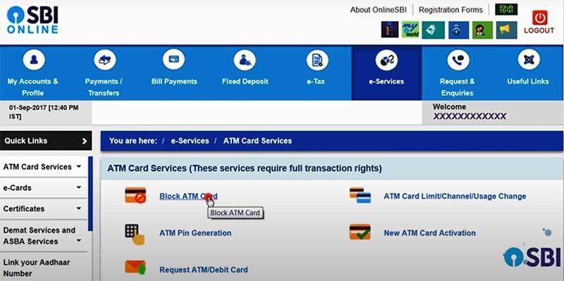 how to activate blocked sbi debit card online