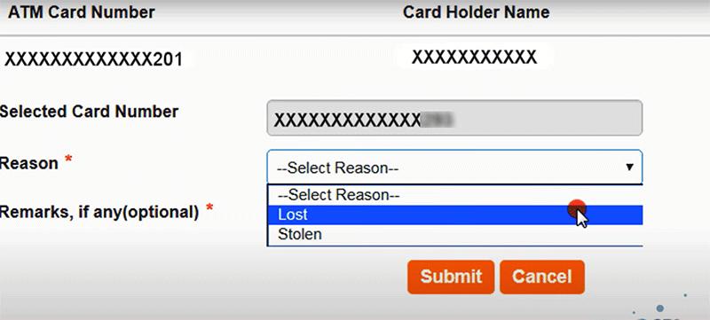 How to block SBI Debit Card Step 5