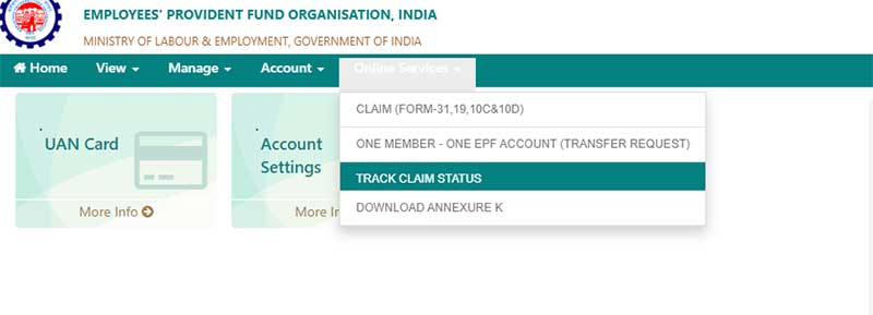 How to check the status of EPF Claim in online Step 2
