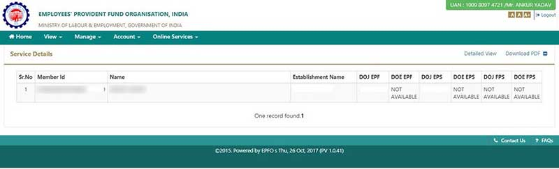 How to know EPF Account Number with UAN Step 5