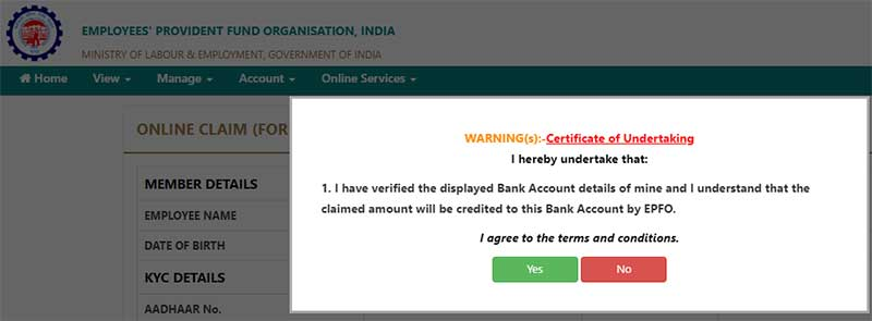 How to make EPF Withdrawal in online Step 5