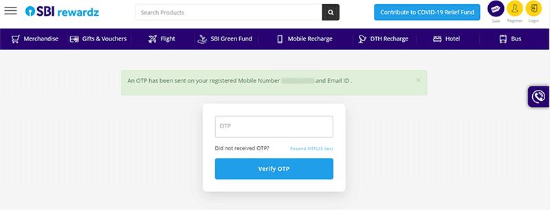 SBI Debit Card Rewardz Step 3