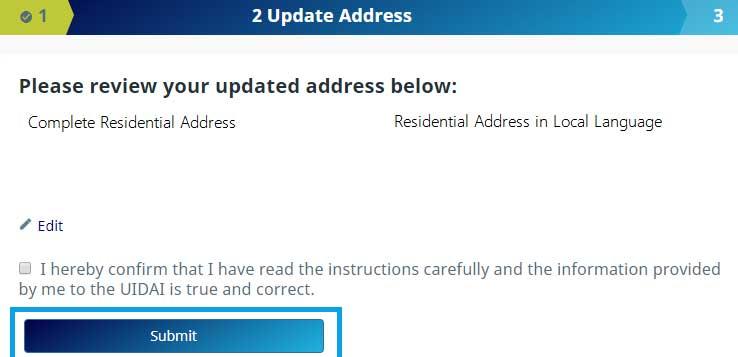 How to update make corrections in Aadhaar Card in Online Step 9