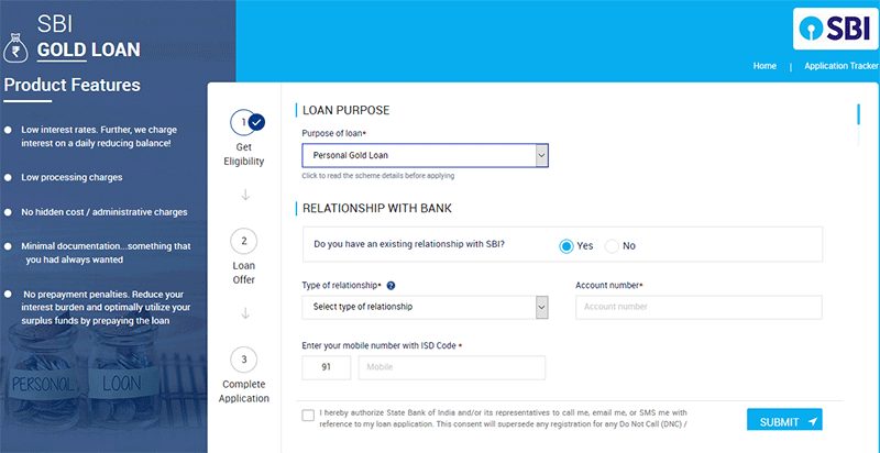 How to apply for SBI Gold Loan in Online Step 4