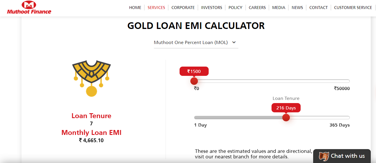How to calculate your EMI for gold loan in Muthoot Finance