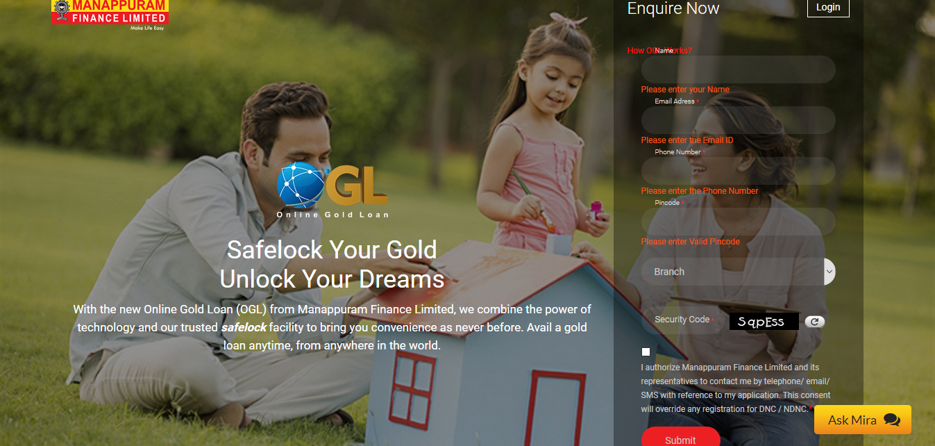 Apply for Gold Loan in Manappuram Finance Online