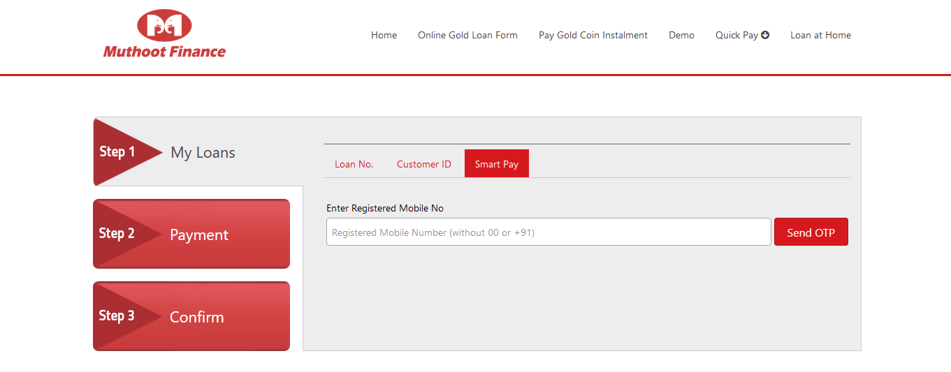 How to pay Muthoot Gold Loan in Online Step 2