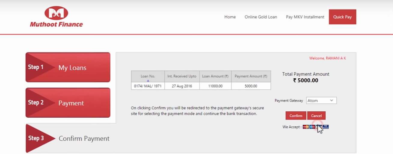 How to pay Muthoot Gold Loan in Online Step 3