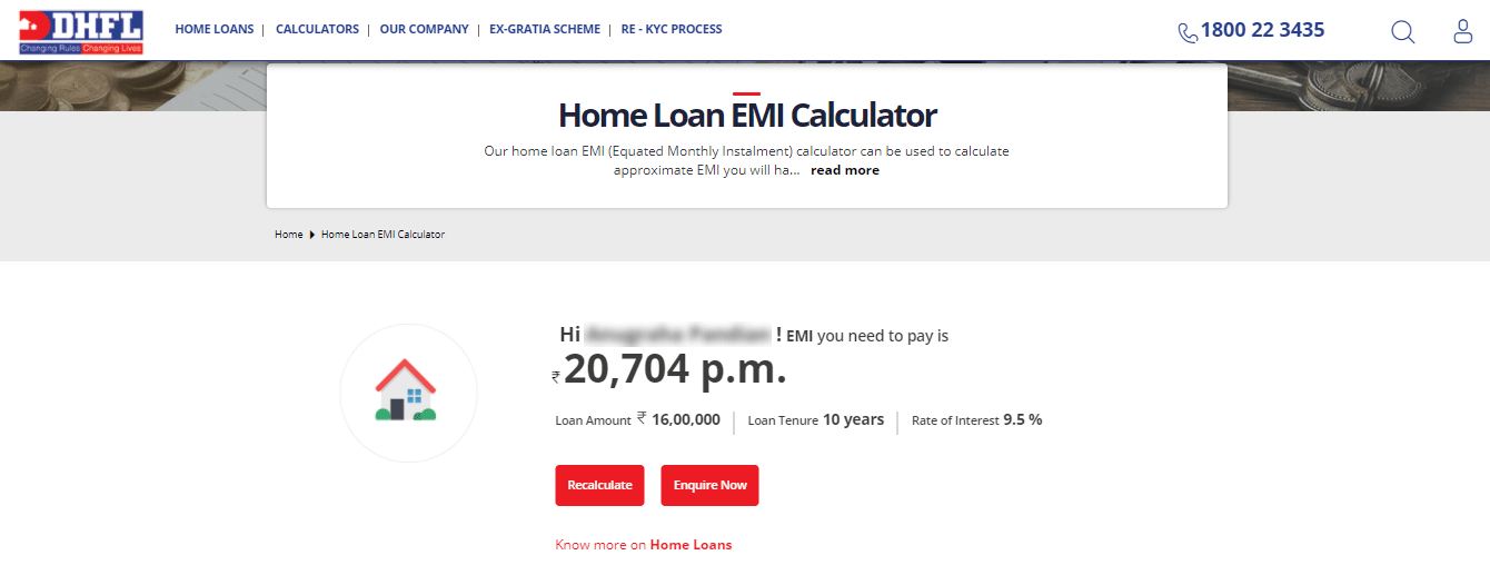 How to calculate EMI for DHFL Home Loan