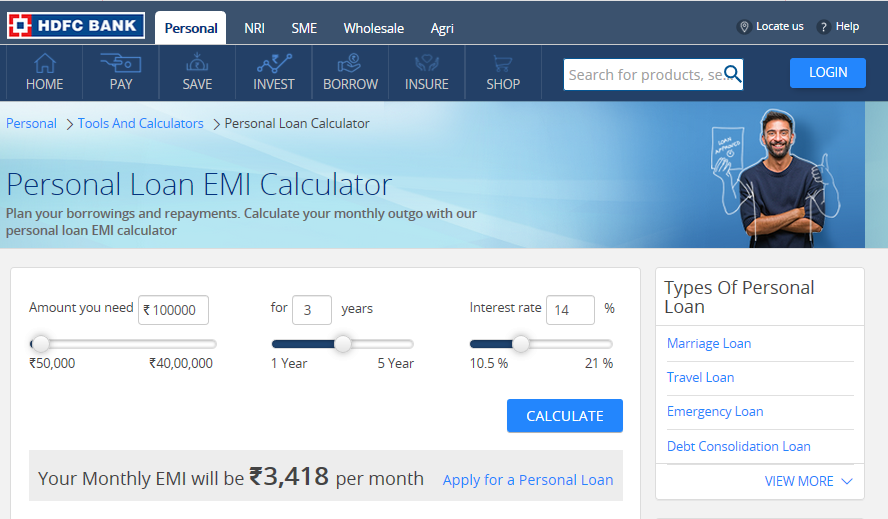 How to calculate HDFC Personal Loan EMI