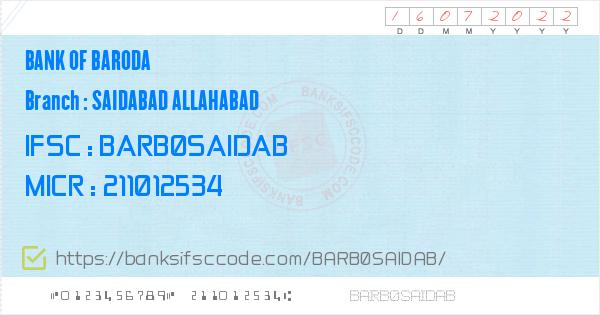 ifsc code of bank of baroda saidabad allahabad