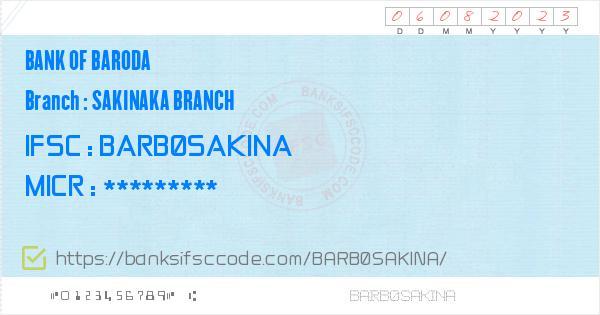 bank of baroda ifsc code mumbai sakinaka