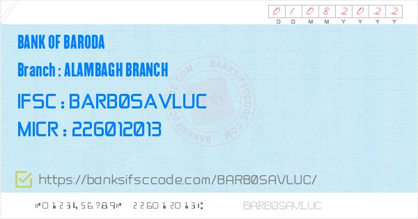 ifsc code of bank of baroda alambagh branch lucknow