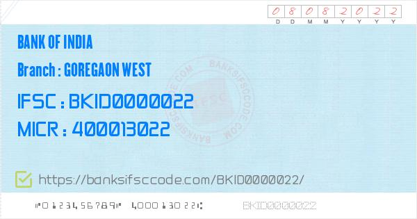 Bank of India Goregaon West Branch IFSC Code - Greater