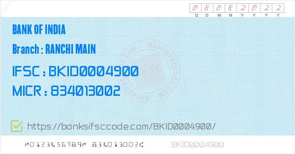 Bank of India Ranchi Main Branch IFSC Code - Ranchi, BOI Ranchi Main