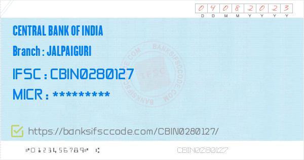 central bank of india ifsc code west bengal jalpaiguri