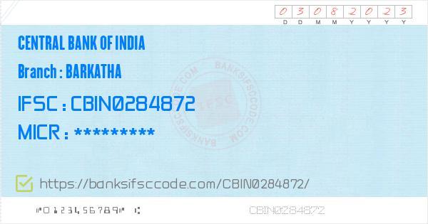 Central Bank of India Barkatha Branch IFSC Code - Barkatha