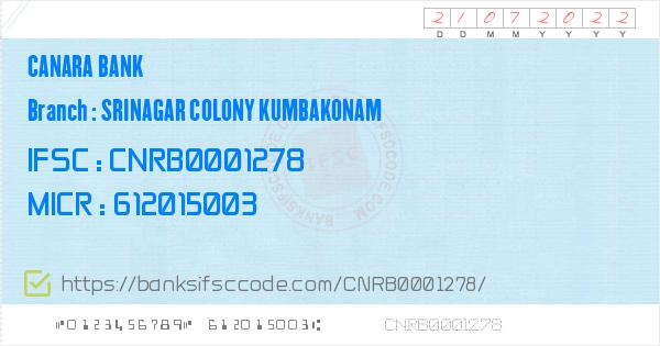 Icon Electronics Srinagar: Canara Bank Srinagar Colony Kumbakonam Branch IFSC Code