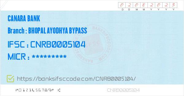 Canara Bank Bhopal Ayodhya Bypass Branch IFSC Code - Delhi