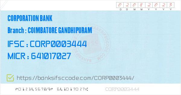 Corporation Bank Coimbatore Gandhipuram Branch IFSC Code