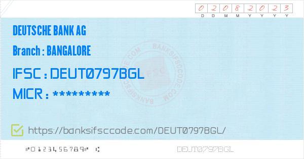 Deutsche Bank Bangalore Ifsc