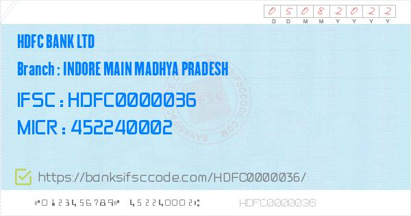 hdfc bank trade house branch indore ifsc code