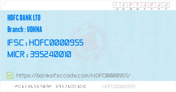 Hdfc Bank Ltd Udhna Branch IFSC Code - Surat  Contact Phone