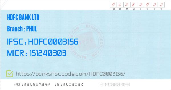 Hdfc Bank Ltd Phul Branch IFSC Code - Phul  Contact Phone Number