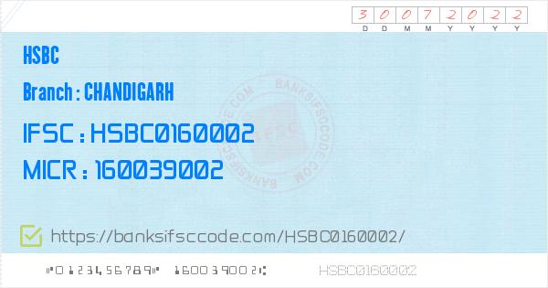 Hsbc Chandigarh Branch IFSC Code - Chandigarh  Contact Phone Number