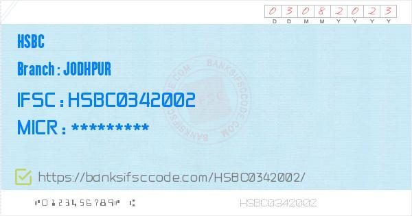 Hsbc Jodhpur Branch IFSC Code - Jodhpur  Contact Phone