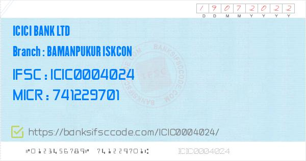 Icici Bank Ltd Bamanpukur Iskcon Branch IFSC Code - Nadia