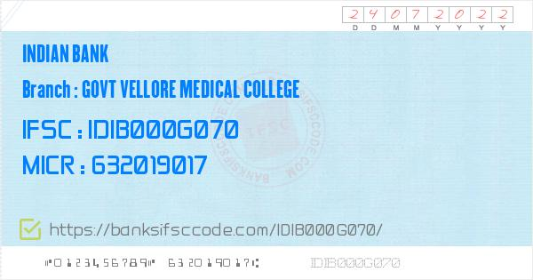 Icon Electronics Srinagar: Indian Bank Govt Vellore Medical College Branch IFSC Code