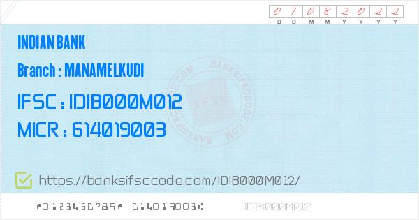 Indian Bank Manamelkudi Branch IFSC Code - Pudukkottai, IB