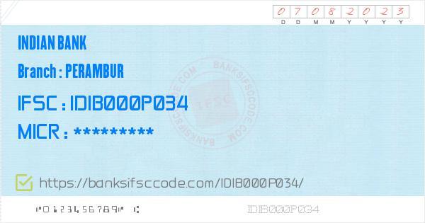 Indian Bank Perambur Branch IFSC Code - Chennai, IB Perambur IFSC
