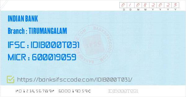 ifsc code indian bank thirumangalam branch chennai