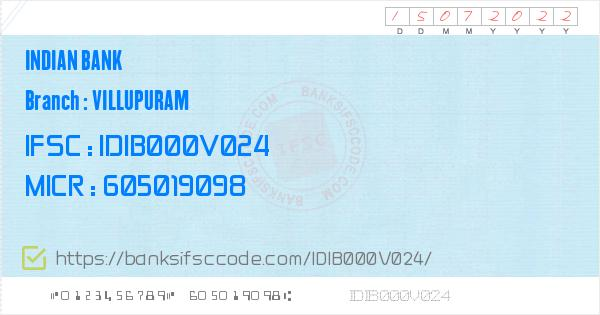Indian Bank Villupuram Branch IFSC Code - Villupuram, IB Villupuram