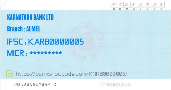Ifsc Code Of Karnataka Bank Ltd Kbl Almel Branch Bijapur