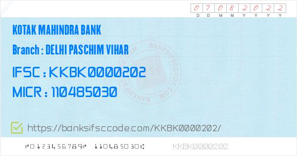 Delhi Paschim Vihar Branch - Kotak Mahindra Bank IFSC, address, branch phone number, manager contact number, email address. Kotak Mahindra Bank - Delhi Paschim Vihar is located at Delhi state, New Delhi district, Delhi city and the bank branchs